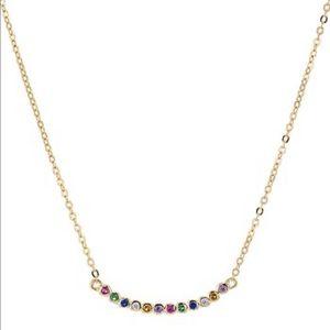AQUA Gold Plate/Rainbow Pavé Pendant Necklace NWT
